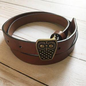 Target | brown leather owl belt | S